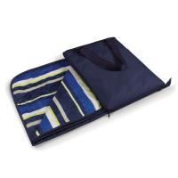 Picnic Time Vista Outdoor Blanket, Navy blue With Lime Stripes