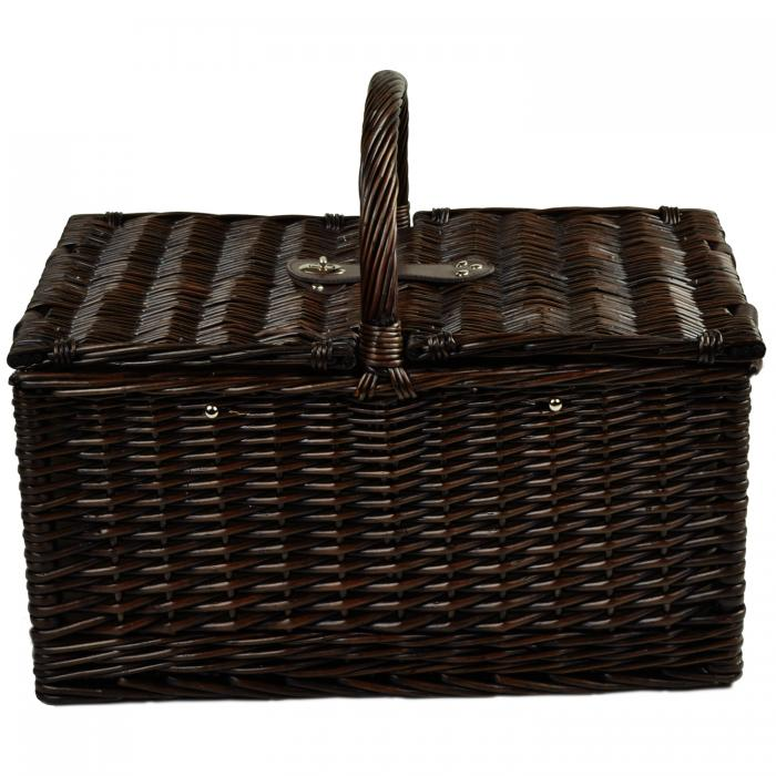Picnic at Ascot Surrey Picnic Basket for 2 w/Blanket & Coffee, Brown Wicker/Santa Cruz Stripe