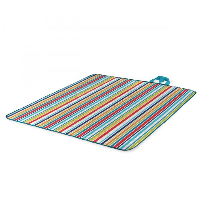Picnic Time Vista Outdoor Blanket XL - Aqua Blue With Fun Stripes