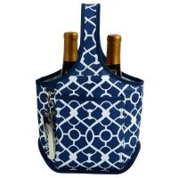 Picnic at Ascot Stylish 2 Bottle Wine Tote with Corkscrew - Trellis Blue