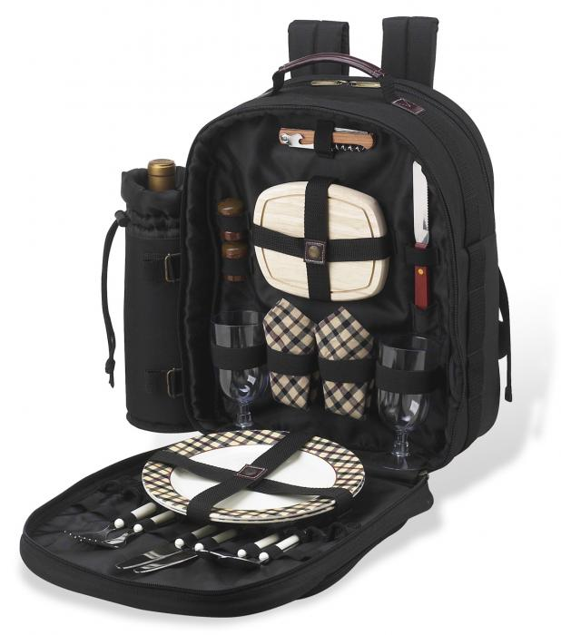 Picnic at Ascot Deluxe Equipped 2 Person Picnic Backpack with Cooler & Insulated Wine Holder - London Plaid