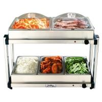 BroilKing Multi-Tier Buffet Server with Stainless Base and Plastic Lids