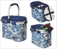 Picnic & Beyond Blue  Aluminum Framed Picnic Cooler Basket for 2