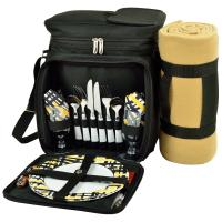 Picnic at Ascot Insulated Picnic Basket/Cooler Fully Equipped for 2 with Blanket - Black/Paris