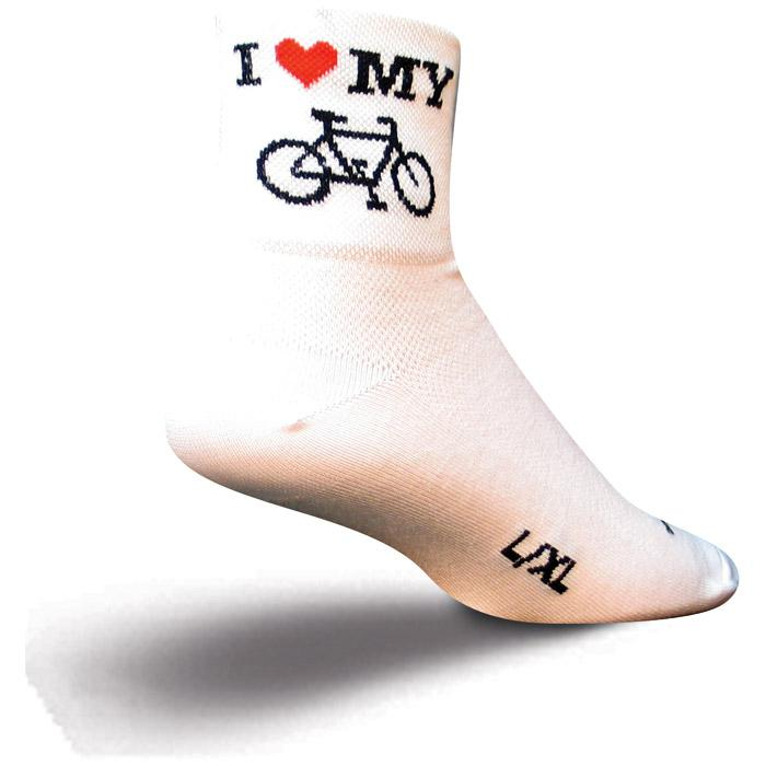 Sockguy I Heart My Bike White S/m