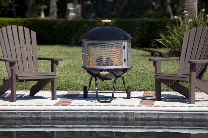 "28"" Bon Fire  Patio Fireplace, Porcelain Enamel Top & Bottom"