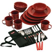 Coleman Dining Kit - 24 Piece Red Speckle Enamel & Cutlery