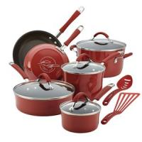 Rachael Ray 12-Pc Cucina Porcelain Aluminum Cookware Set (Cranberry Red)