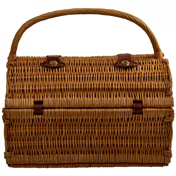 Picnic at Ascot Surrey Willow Picnic Basket with Service for 2 with Blanket Blue Stripe