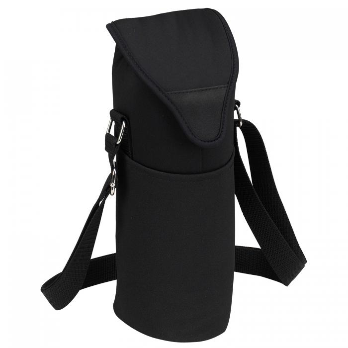 Picnic at Ascot Insulated Wine/Water Bottle Tote with Shoulder Strap -  Black