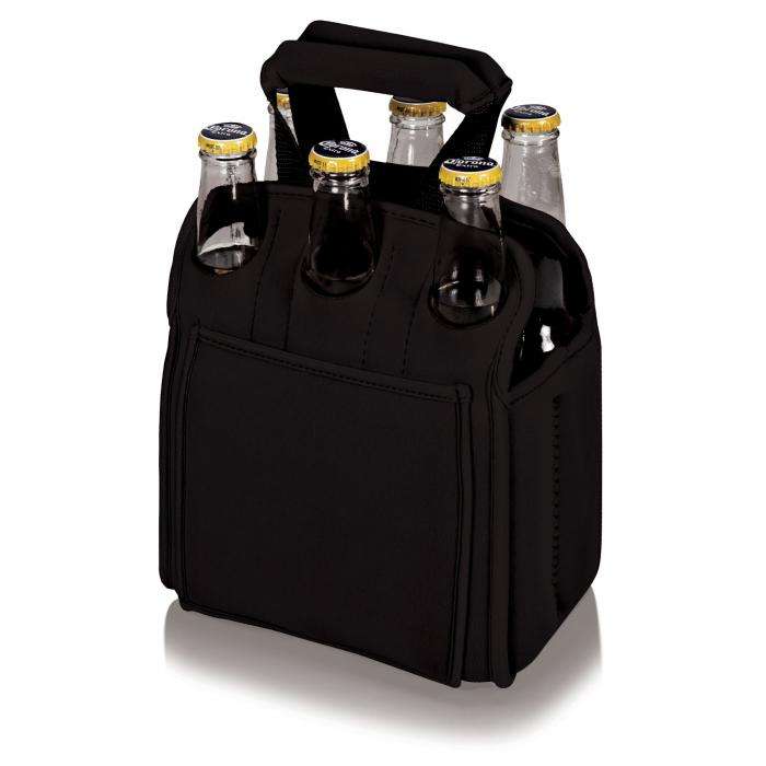 Picnic Time Insulated Six Pack Bottle/Can Holder, Black