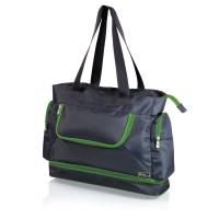 Picnic Time Beach Tote, Grey with Lime Trim