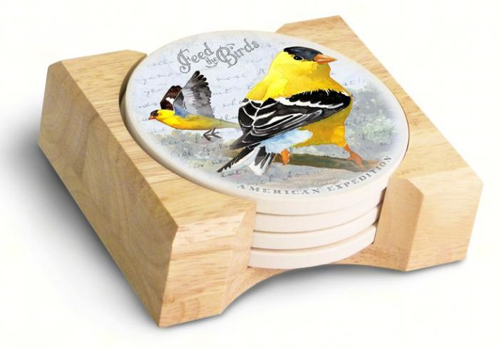American Expeditions Goldfinch Postcard Coasters (set of 4)