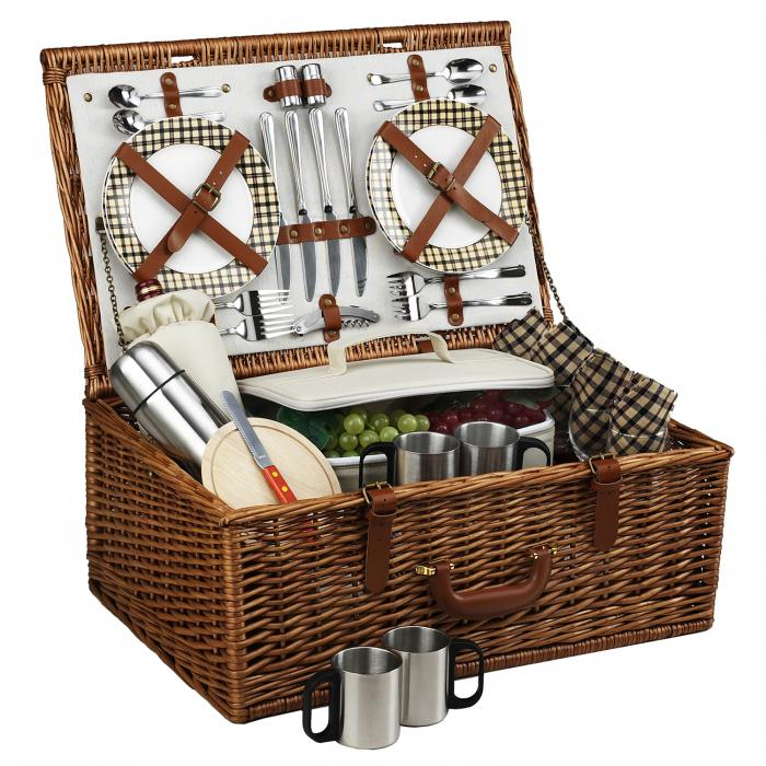 Picnic at Ascot Dorset English-Style Willow Picnic Basket with Service for 4 and Coffee Set - London Plaid