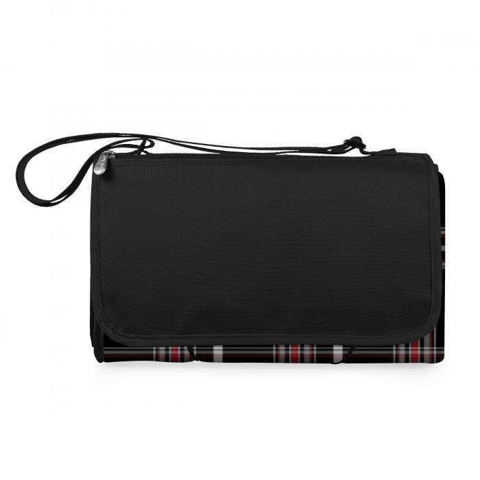 Picnic Time Blanket Tote XL- Black Plaid/Black