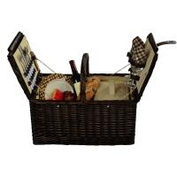 Picnic at Ascot Surrey Willow Picnic Basket with Service for 2 - Brown Wicker/London Plaid