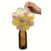 Evergreen Enterprises Delicate Flower Metal Wine Bottle & Cork Holder