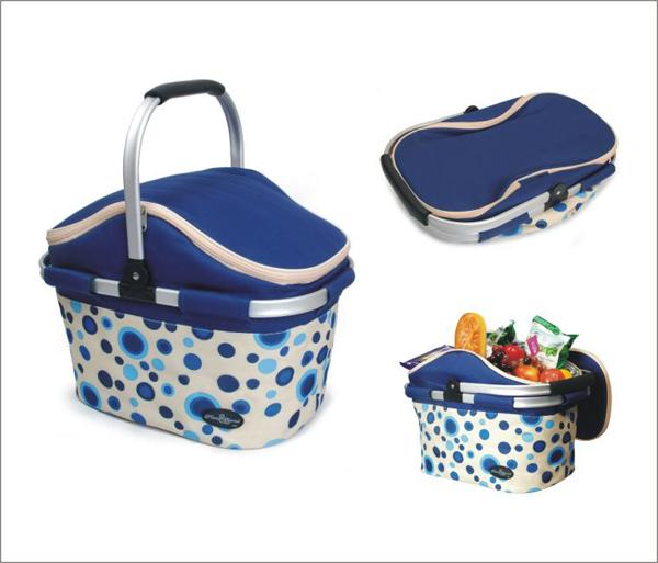 Picnic & Beyond Aluminum Framed Blue Empty Picnic Cooler Basket