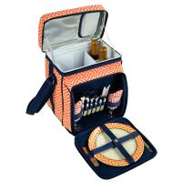 Picnic at Ascot Insulated Picnic Basket/Cooler Fully Equipped with Service for 2 - Orange/Navy