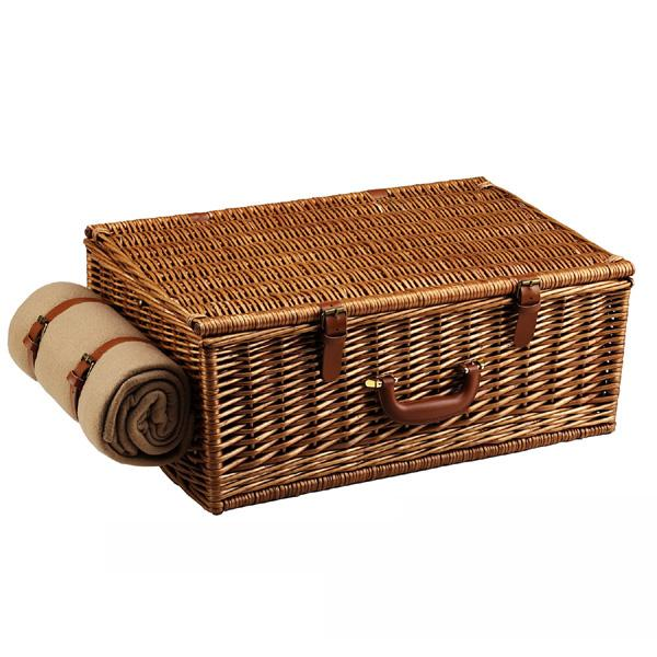 Picnic at Ascot Dorset English-Style Willow Picnic Basket with Service for 4,Coffee Set and Blanket - Santa Cruz
