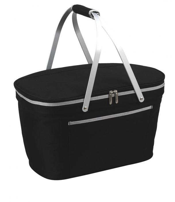 Picnic at Ascot Stylish Insulated Market Basket / Picnic Tote with Sewn in Aluminum Frame - Black