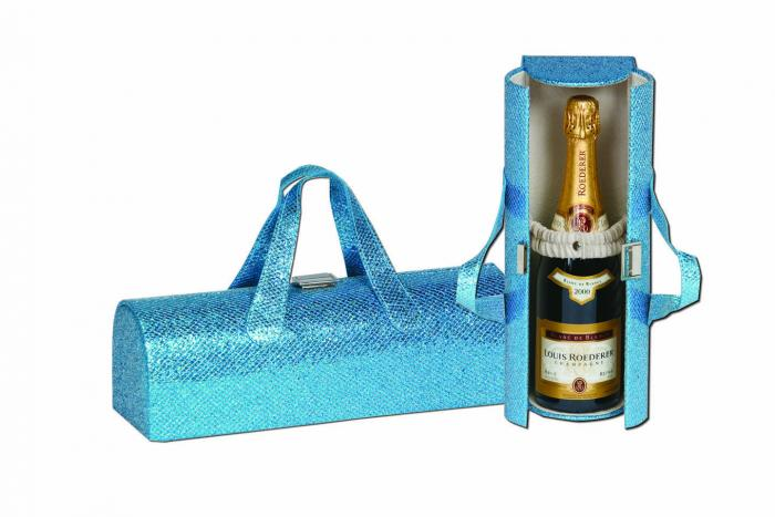 Picnic Plus Carlotta Clutch Wine Bottle Tote - Glitter Turquoise