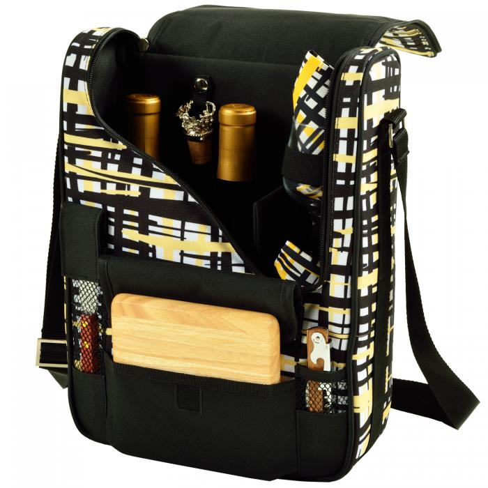 Picnic at Ascot Bordeaux Wine & Cheese Cooler Bag w/Glass Wine Glasses Equipped for 2 -Paris