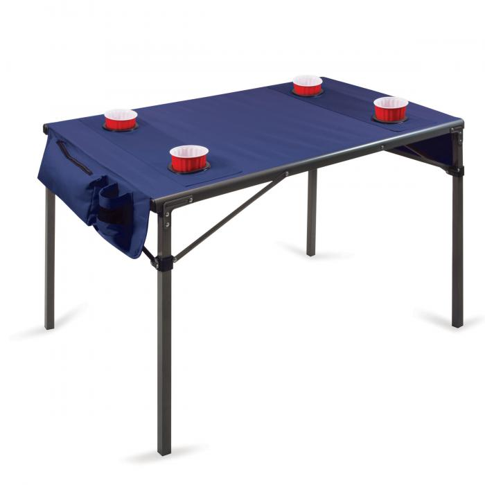 Picnic Time Travel Table, Navy with Gunmetal Grey Frame