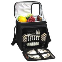 Picnic at Ascot Insulated Picnic Basket/Cooler Fully Equipped with Service for Two -Black/London Plaid