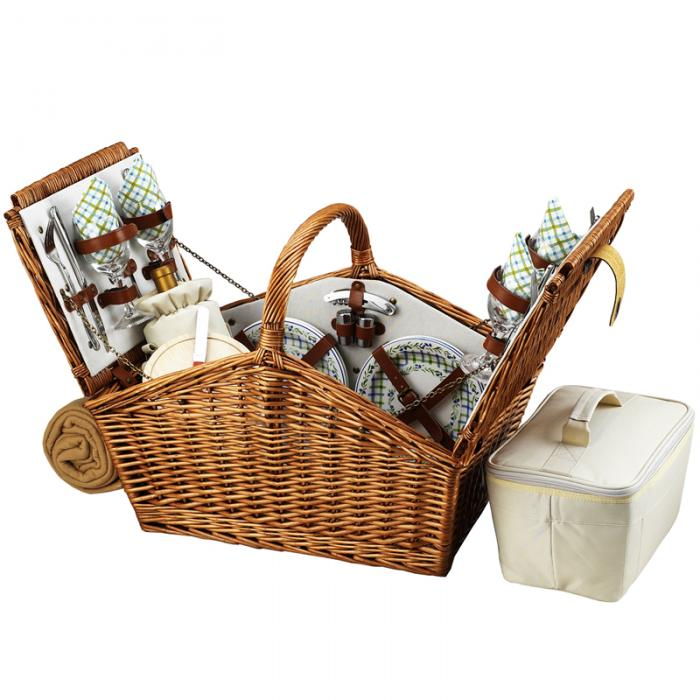 Picnic at Ascot Huntsman English-Style Willow Picnic Basket with Service for 4 and Coffee Set - Gazebo