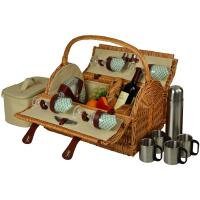 Picnic at Ascot Yorkshire Willow Picnic Basket with Service for 4 with Coffee Set - Gazebo