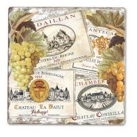 Counter Art Wine Labels Single Tumbled Tile Coaster