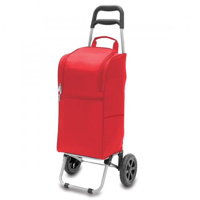 Picnic Time Cart Cooler on Wheels with Removeable Tote, Red
