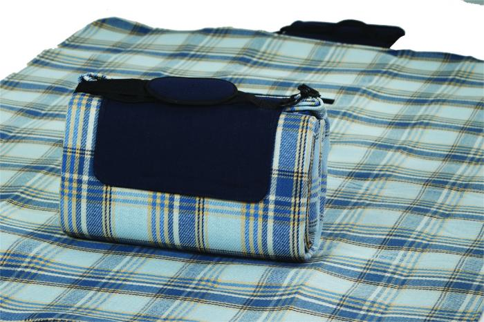 "Mega Mat Folded Picnic Blanket with Shoulder Strap - 68"" x 82"" (Varsity Blue Plaid)"