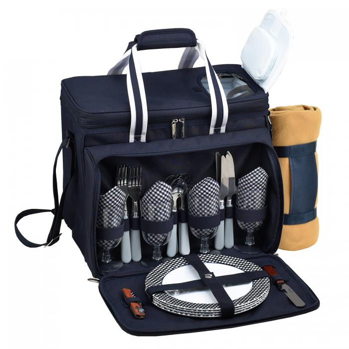 Picnic at Ascot Equipped Insulated Picnic Cooler with Service for 4 with Blanket- Navy
