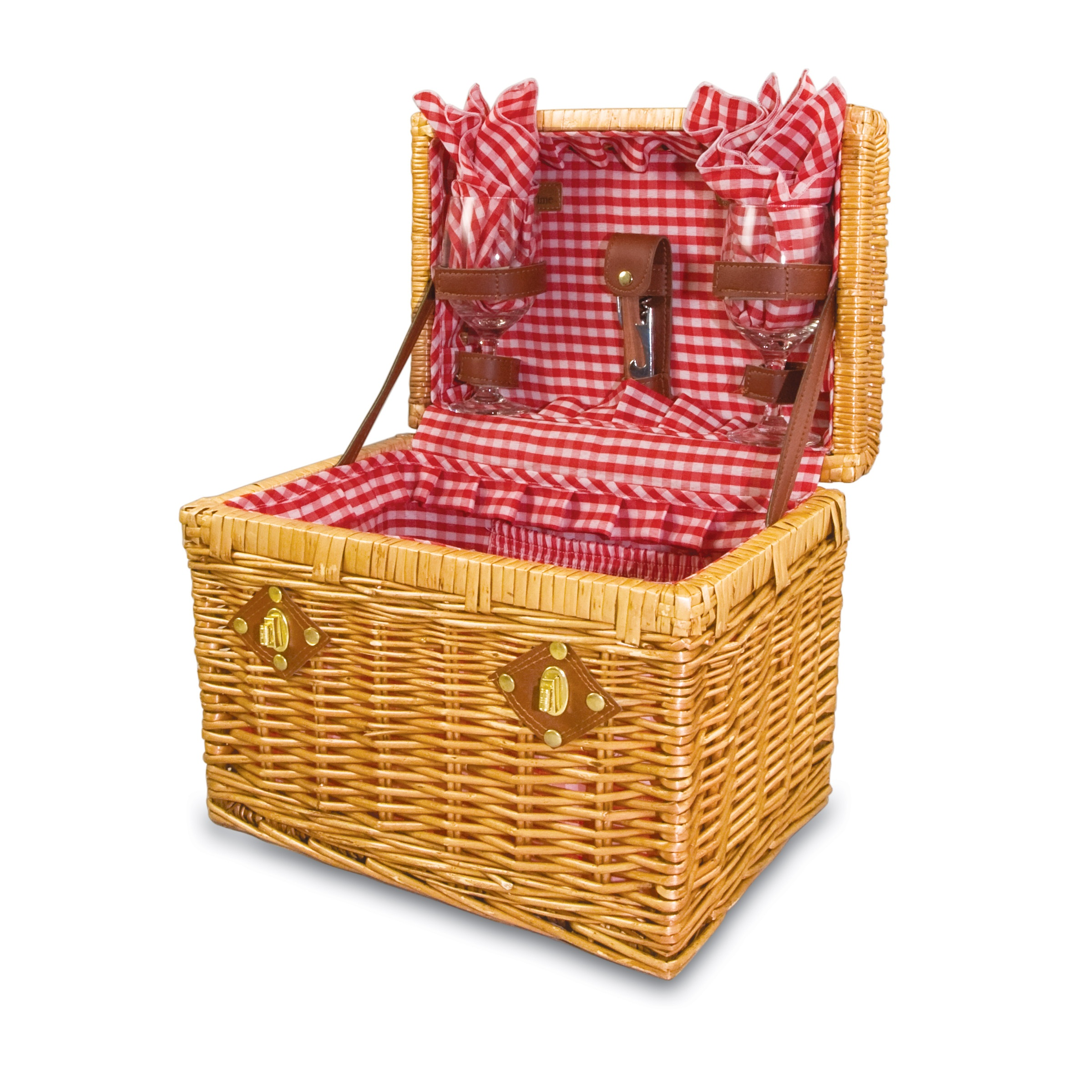 Picnic Basket Items : Picnic time chardonnay quot willow basket w wine service for