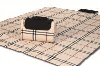 """Mega Mat Folded Picnic Blanket with Shoulder Strap - 48"""" x 60""""  (Beige Traditional)"""