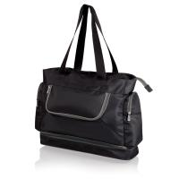 Picnic Time Beach Tote, Black with Grey Trim