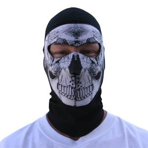 Cold Weather Headwear Coolmax Balaclava Extreme, Full Mask, B&W Skull