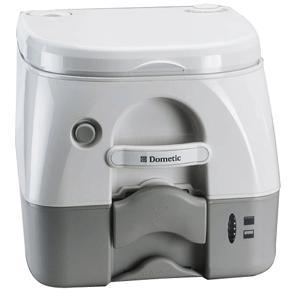 Dometic - 974 Portable Toilet 2.6 Gallon - Grey w/Brackets