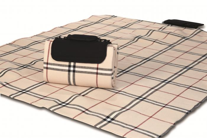 "Mega Mat Folded Picnic Blanket with Shoulder Strap - 48"" x 60""  (Beige Traditional)"