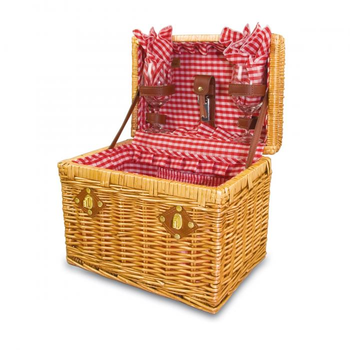 "Picnic Time Chardonnay 13"" Willow Basket w/ Wine Service for 2"