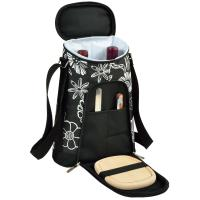 Picnic at Ascot Stylish 2 Bottle Insulated Wine Tote Bag with Cheese Board, Knife and Corkscrew - Night Bloom