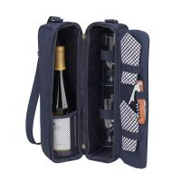Picnic at Ascot Deluxe Insulated Wine Tote with 2 Wine Glasses, Napkins and Corkscrew - Navy