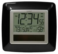 La Crosse Technology Solar Atomic Digital Wall Clock w/ Indoor Temp / Humidity - Black
