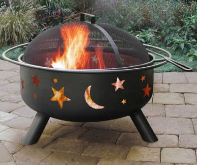 Landmann Big Sky Steel Black Fire Pit with Stars & Moons, 23.5 Diameter Bowl