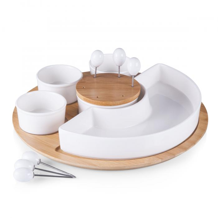 Picnic Time Symphony Appetizer Serving Set (White/ Bamboo)