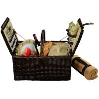 Picnic at Ascot Surrey Willow Picnic Basket with Service for 2 with Blanket - Hamptons