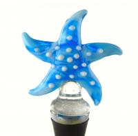 Zee's Creations Blue Starfish Glass Wine Bottle Stopper