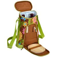 Picnic at Ascot Stylish 2 Bottle Insulated Wine Tote Bag with Cheese Board, Knife and Corkscrew - Floral